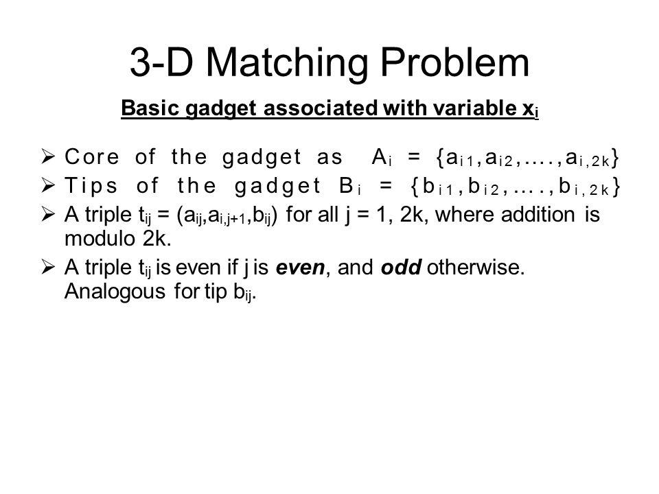 3-D Matching Problem Basic gadget associated with variable x i  Core of the gadget as A i = {a i1,a i2,….,a i,2k }  Tips of the gadget B i = {b i1,b i2,….,b i,2k }  A triple t ij = (a ij,a i,j+1,b ij ) for all j = 1, 2k, where addition is modulo 2k.