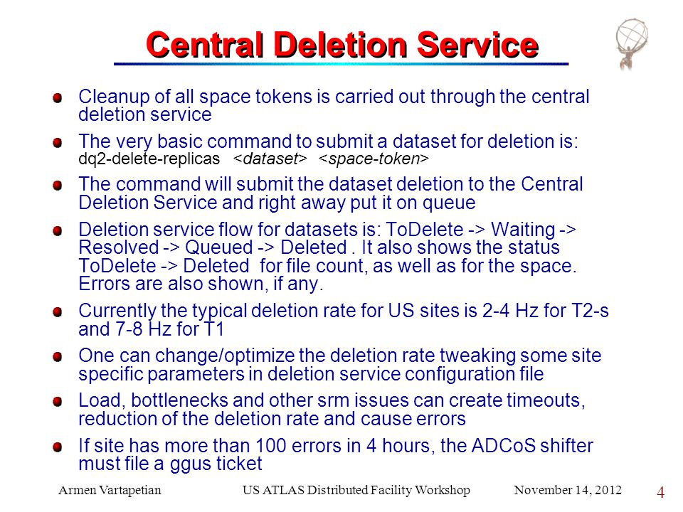 SLAC localgroupdisk, used space 355TB User DNUsed Space (TB)# of Datasets /dc=ch/dc=cern/ou=organic units/ou=users/cn=eifert1225048 /dc=ch/dc=cern/ou=organic units/ou=users/cn=toshi68352 /dc=org/dc=doegrids/ou=people/cn=anyes taffard 365111441637 /dc=org/dc=doegrids/ou=people/cn=brokk toggerson 91808621600 /dc=org/dc=doegrids/ou=people/cn=andrew haas 477621205067 /dc=org/dc=doegrids/ou=people/cn=steven andrew farrell 628960171489 /dc=org/dc=doegrids/ou=people/cn=jason veatch 42108815362 /dc=org/dc=doegrids/ou=people/cn=michael werth 3408449165 /dc=org/dc=doegrids/ou=people/cn=bart clayton butler 621226138 /dc=org/dc=doegrids/ou=people/cn=alaettin serhan mete 462708577 /dc=org/dc=doegrids/ou=people/cn=david wilkins miller 3599455555 /dc=org/dc=doegrids/ou=people/cn=robert w.