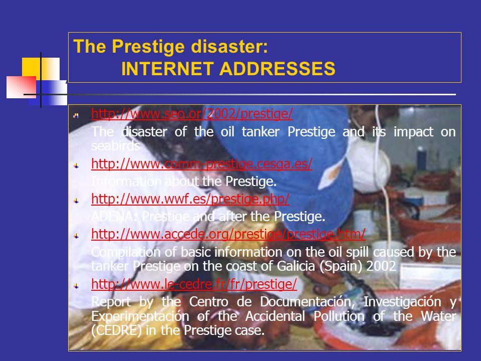 A The Prestige disaster: INTERNET ADDRESSES
