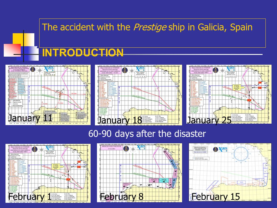 A The accident with the Prestige ship in Galicia, Spain INTRODUCTION Dec 4Dec 7Dec 11 Dec 14Dec 21 Dec 28 New impacts on the shore, December (30-50 days after)