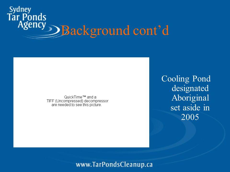 Background cont'd Cooling Pond designated Aboriginal set aside in 2005