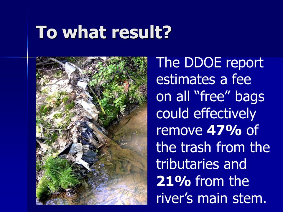 The DDOE report estimates a fee on all free bags could effectively remove 47% of the trash from the tributaries and 21% from the river's main stem.