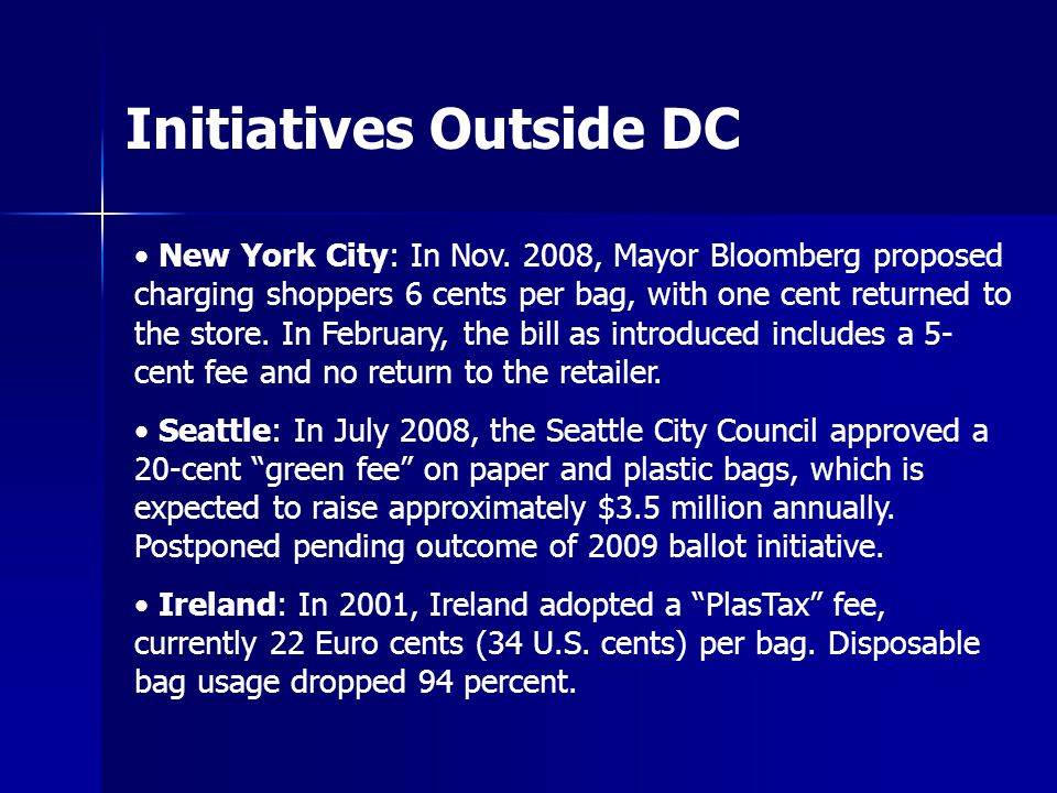 Initiatives Outside DC New York City: In Nov.