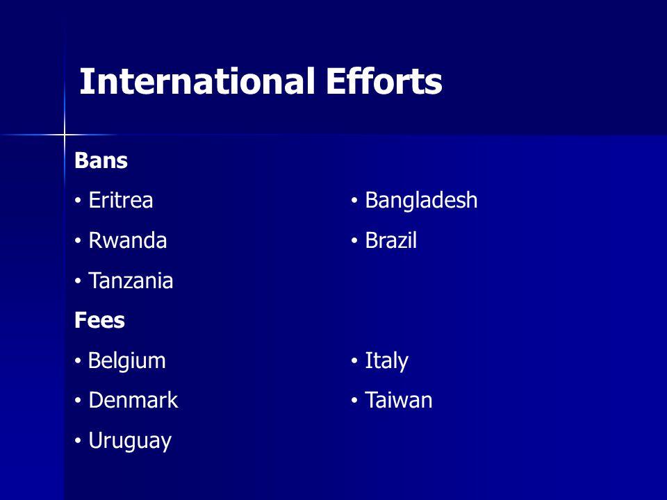 International Efforts Bans Eritrea Rwanda Tanzania Fees Belgium Denmark Uruguay Bangladesh Brazil Italy Taiwan