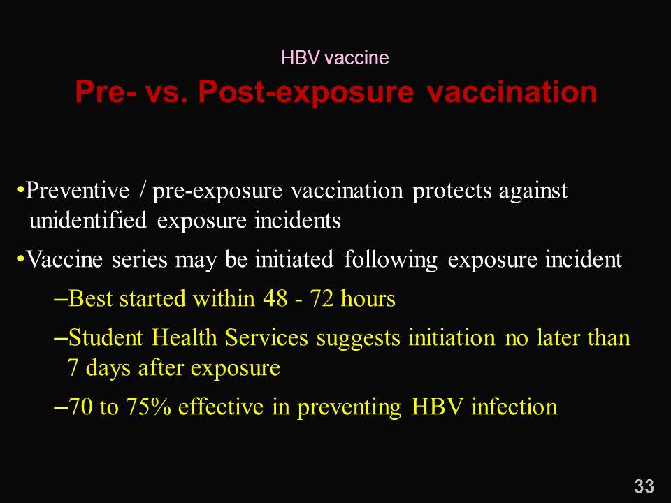 Pre- vs. Post-exposure vaccination Preventive / pre-exposure vaccination protects against unidentified exposure incidents Vaccine series may be initia