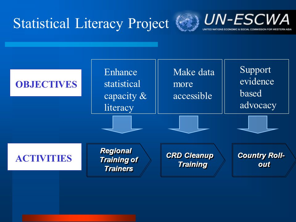 OBJECTIVES ACTIVITIES Make data more accessible Enhance statistical capacity & literacy Support evidence based advocacy Regional Training of Trainers CRD Cleanup Training Country Roll- out Statistical Literacy Project OUTPUTS Make better use of MDG data and indicators to improve evidence-based management
