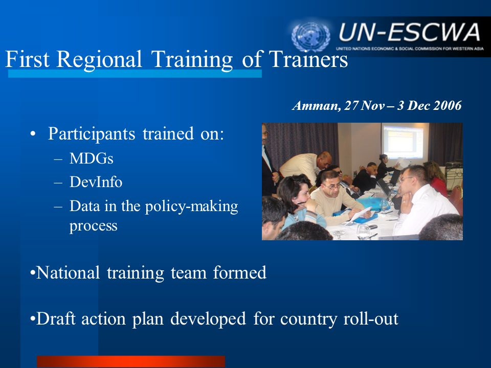 First Regional Training of Trainers Participants trained on: –MDGs –DevInfo –Data in the policy-making process Amman, 27 Nov – 3 Dec 2006 National training team formed Draft action plan developed for country roll-out