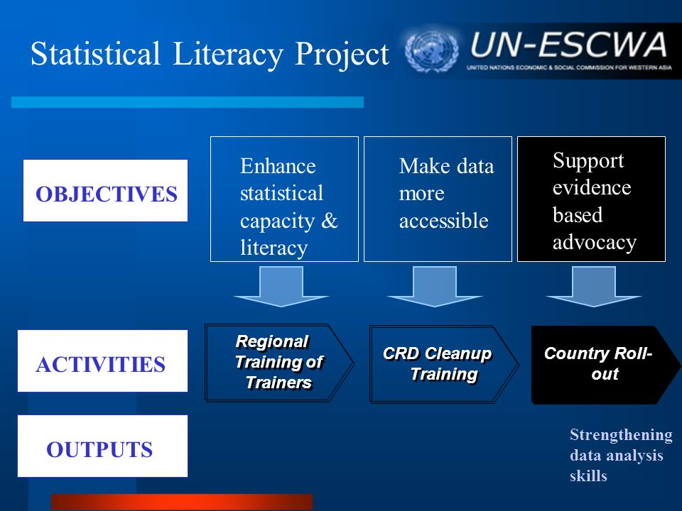 OBJECTIVES ACTIVITIES Make data more accessible Enhance statistical capacity & literacy Support evidence based advocacy Regional Training of Trainers CRD Cleanup Training Country Roll- out Statistical Literacy Project OUTPUTS Strengthening data analysis skills