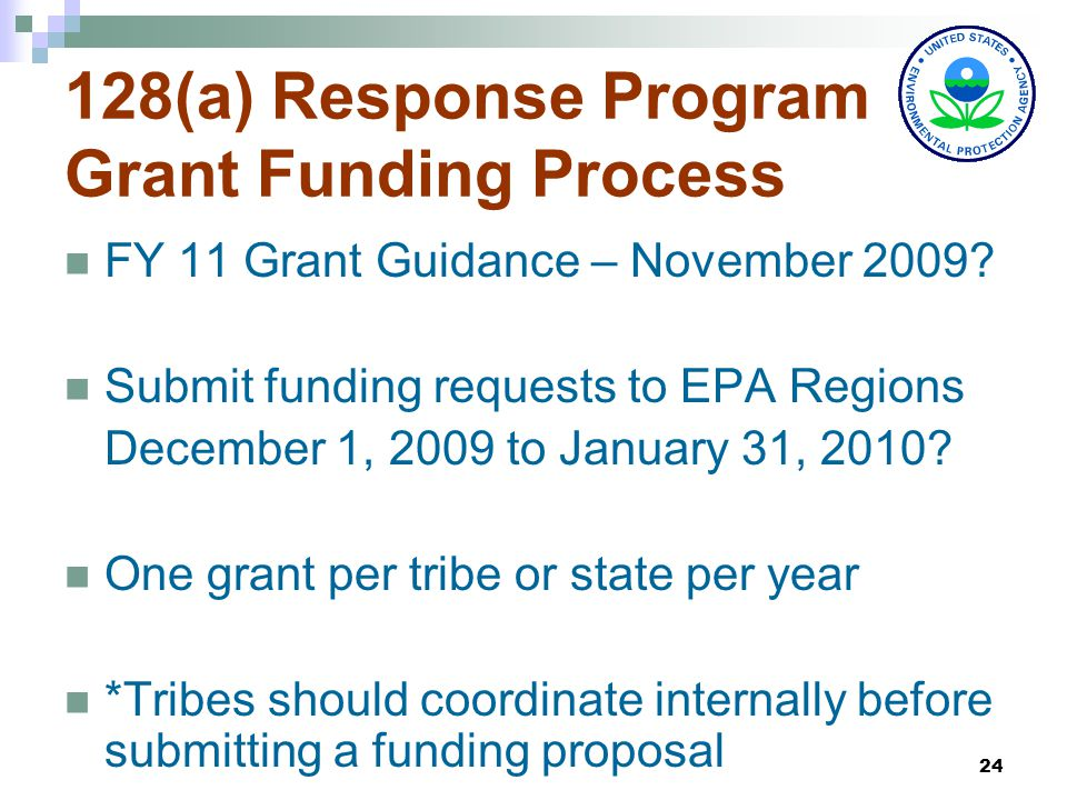24 128(a) Response Program Grant Funding Process FY 11 Grant Guidance – November 2009.