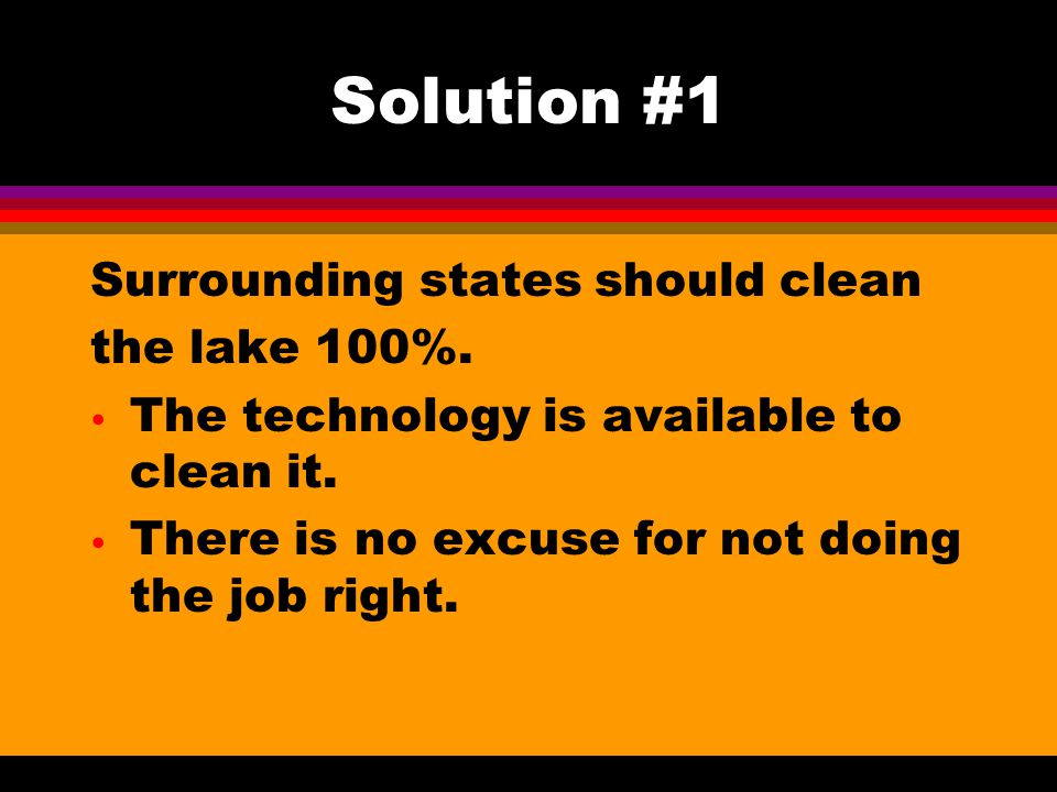 Solution #1 Surrounding states should clean the lake 100%.