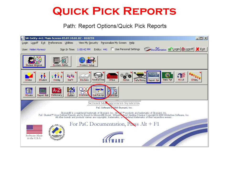 Quick Pick Reports Path: Report Options/Quick Pick Reports