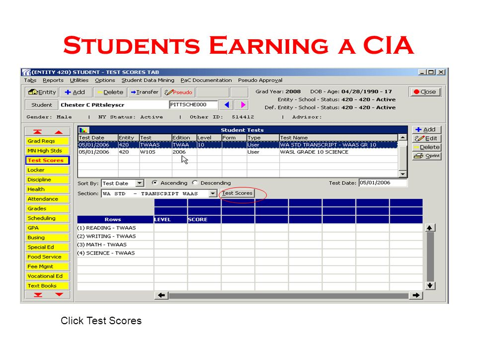 Students Earning a CIA Click Test Scores