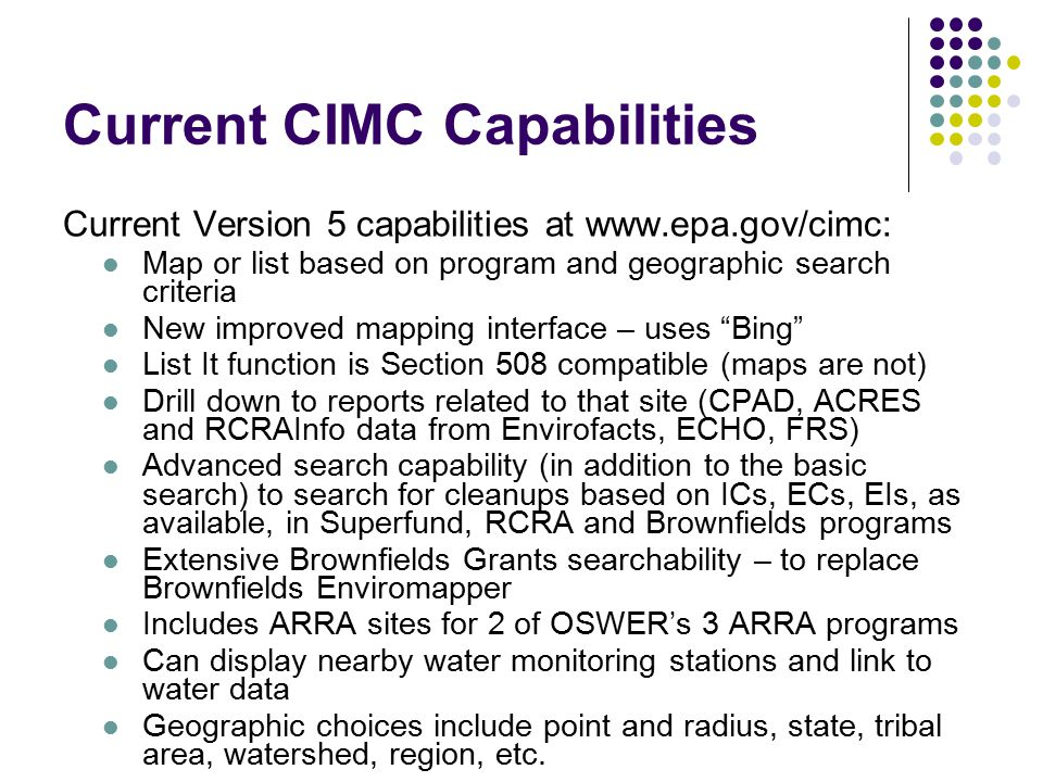 Demo slide – Top of a ListIt page Shows that CIMC can show lists of sites.