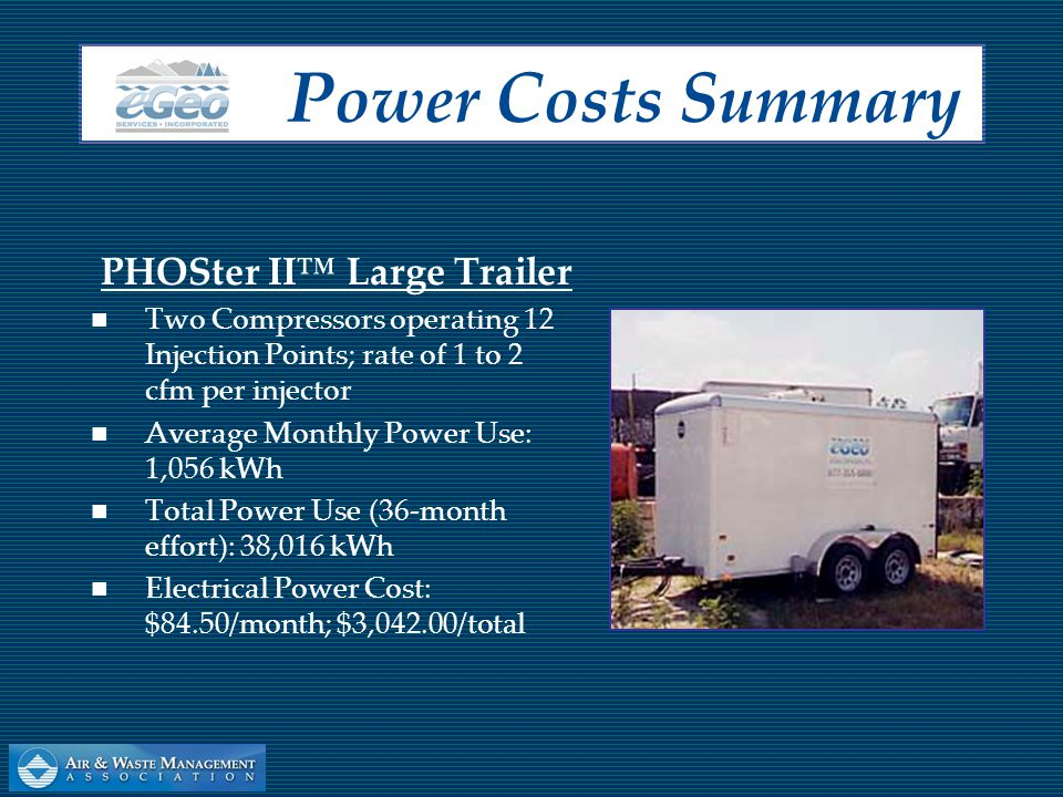 PHOSter II™ Small Trailer One Compressor operating 4 Injection Points; rate of 0.5 to 1 cfm per injector Average Monthly Power Use: 719 kWh Total Power Use (36-month effort): 25,884 kWh Electrical Power Cost: $56.80/month; $2,044.80/total P ower C osts S ummary