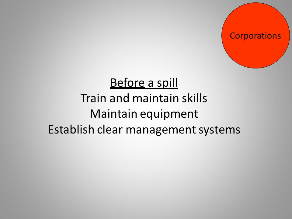 Before a spill Train and maintain skills Maintain equipment Establish clear management systems Corporations