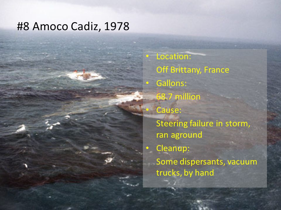 #8 Amoco Cadiz, 1978 Location: Off Brittany, France Gallons: 68.7 million Cause: Steering failure in storm, ran aground Cleanup: Some dispersants, vacuum trucks, by hand