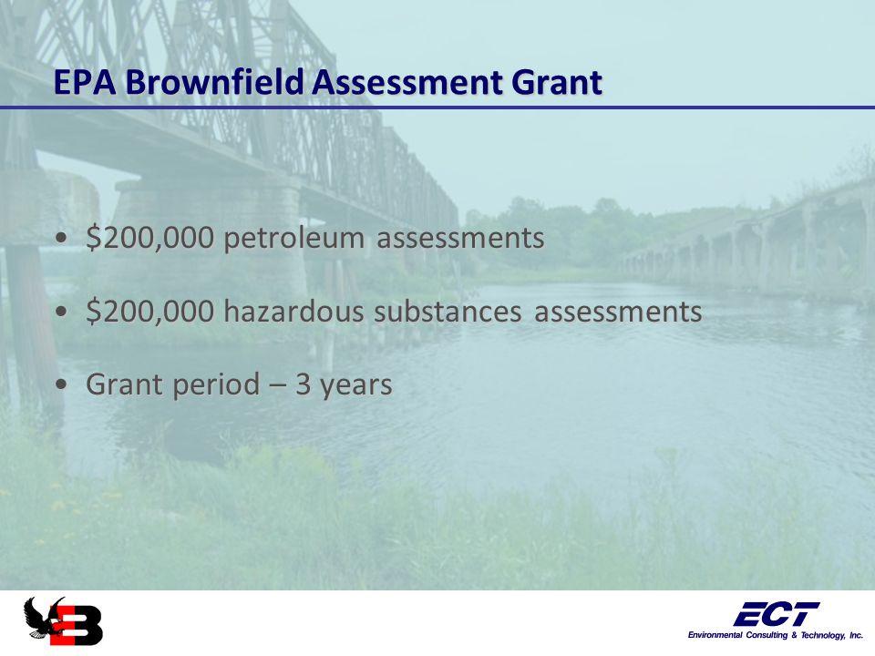 EPA Brownfield Assessment Grant $200,000 petroleum assessments$200,000 petroleum assessments $200,000 hazardous substances assessments$200,000 hazardous substances assessments Grant period – 3 yearsGrant period – 3 years