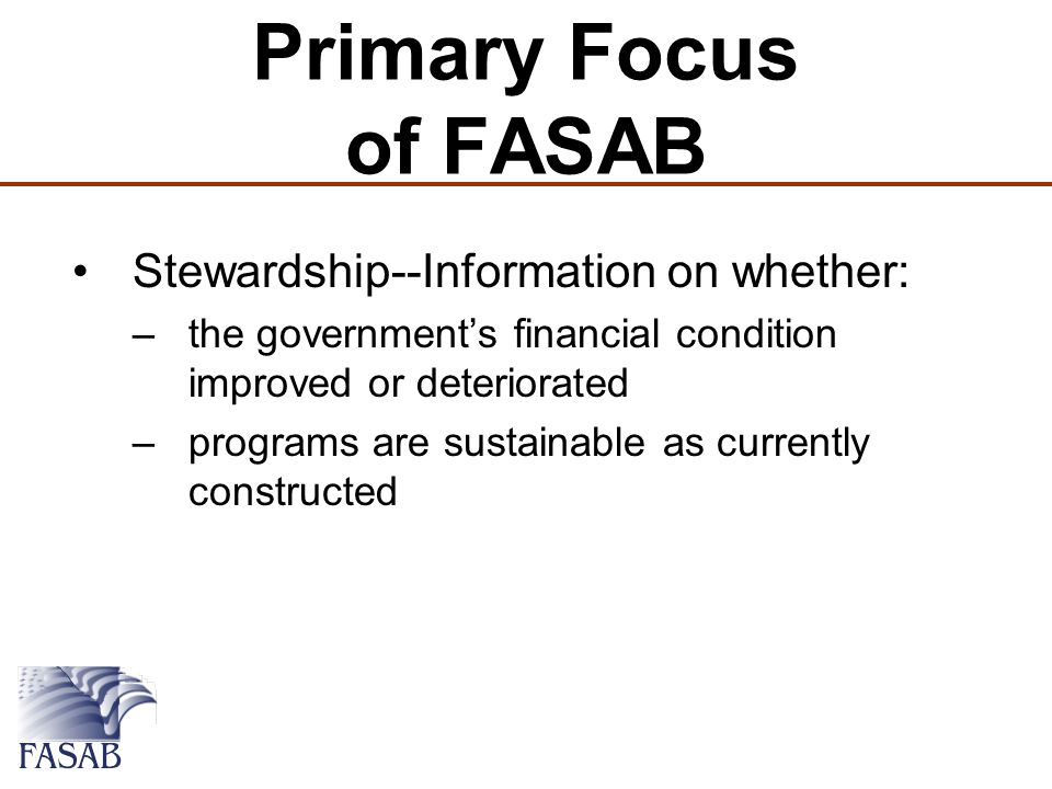 Primary Focus of FASAB Stewardship--Information on whether: –the government's financial condition improved or deteriorated –programs are sustainable as currently constructed