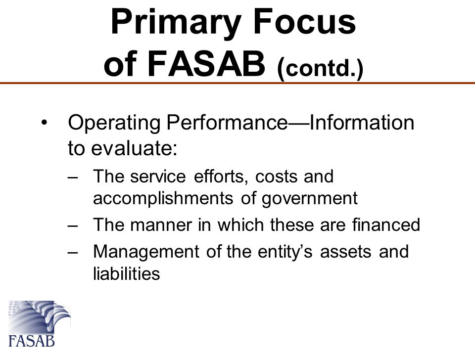 Primary Focus of FASAB ( contd.) Operating Performance—Information to evaluate: –The service efforts, costs and accomplishments of government –The manner in which these are financed –Management of the entity's assets and liabilities
