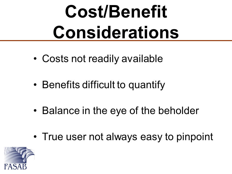Cost/Benefit Considerations Costs not readily available Benefits difficult to quantify Balance in the eye of the beholder True user not always easy to pinpoint