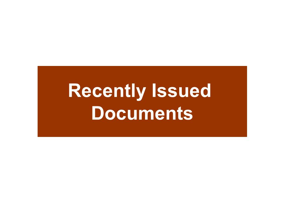Recently Issued Documents