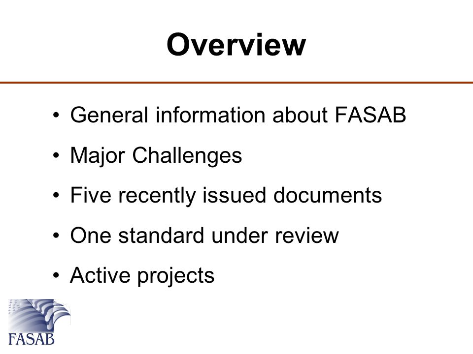 Active FASAB Projects Revisiting Conceptual Framework Deferred Maintenance / Asset Impairment Evaluating Existing Standards Use of FASB by Federal Entities