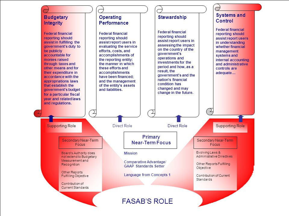 FASAB's Near-Term Focus Operating Performance Federal financial reporting should assist report users in evaluating the service efforts, costs, and accomplishments of the reporting entity; the manner in which these efforts and accomplishments have been financed; and the management of the entity s assets and liabilities.