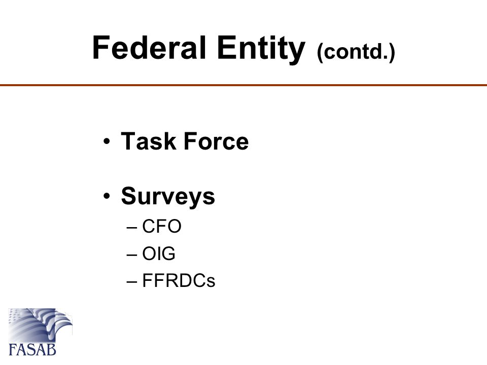 Federal Entity (contd.) Task Force Surveys –CFO –OIG –FFRDCs
