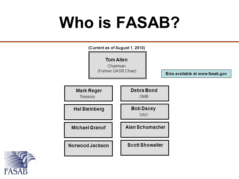 Mark Reger Treasury Debra Bond OMB Bob Dacey GAO Hal Steinberg Alan Schumacher Michael Granof Scott Showalter Norwood Jackson Tom Allen Chairman (Former GASB Chair) Who is FASAB.