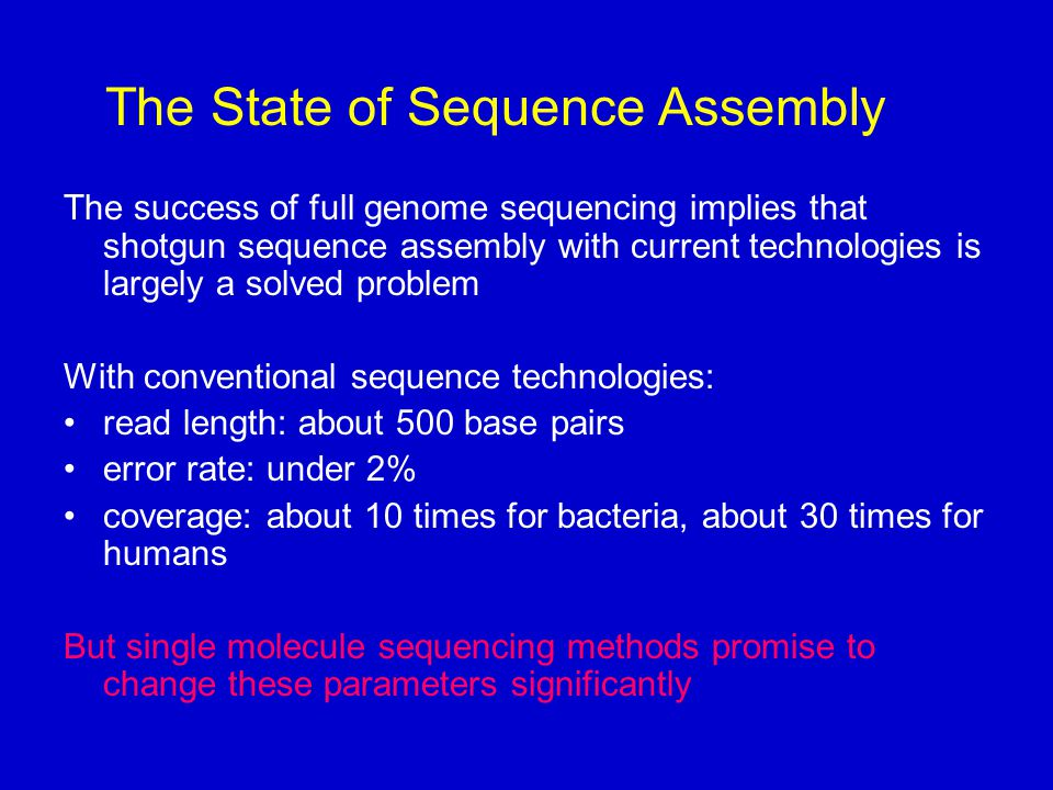 The State of Sequence Assembly The success of full genome sequencing implies that shotgun sequence assembly with current technologies is largely a solved problem With conventional sequence technologies: read length: about 500 base pairs error rate: under 2% coverage: about 10 times for bacteria, about 30 times for humans But single molecule sequencing methods promise to change these parameters significantly