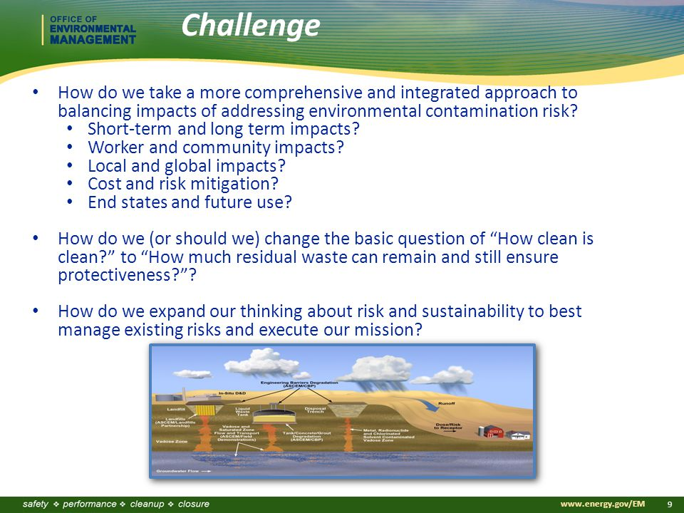 www.energy.gov/EM 9 How do we take a more comprehensive and integrated approach to balancing impacts of addressing environmental contamination risk.
