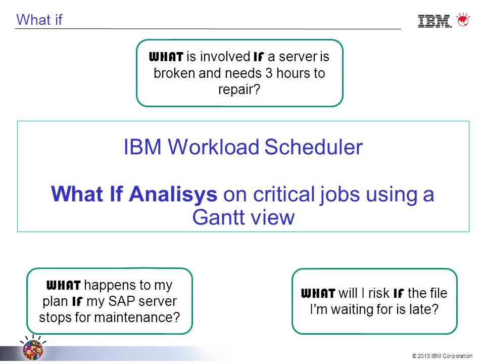 What if IBM Workload Scheduler What If Analisys on critical jobs using a Gantt view WHAT is involved IF a server is broken and needs 3 hours to repair.