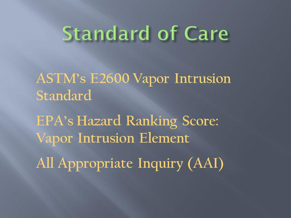 ASTM's E2600 Vapor Intrusion Standard EPA's Hazard Ranking Score: Vapor Intrusion Element All Appropriate Inquiry (AAI)