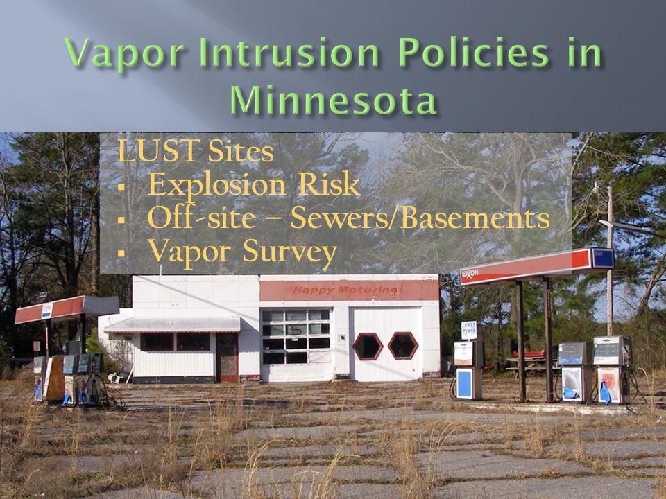 LUST Sites  Explosion Risk  Off-site – Sewers/Basements  Vapor Survey