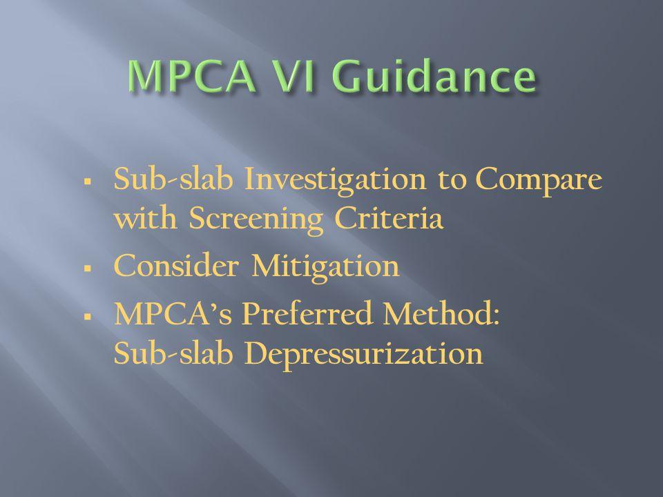  Sub-slab Investigation to Compare with Screening Criteria  Consider Mitigation  MPCA's Preferred Method: Sub-slab Depressurization