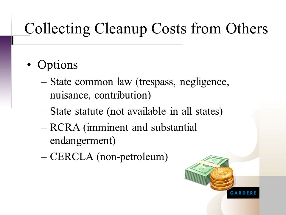 Collecting Cleanup Costs from Others Options –State common law (trespass, negligence, nuisance, contribution) –State statute (not available in all sta