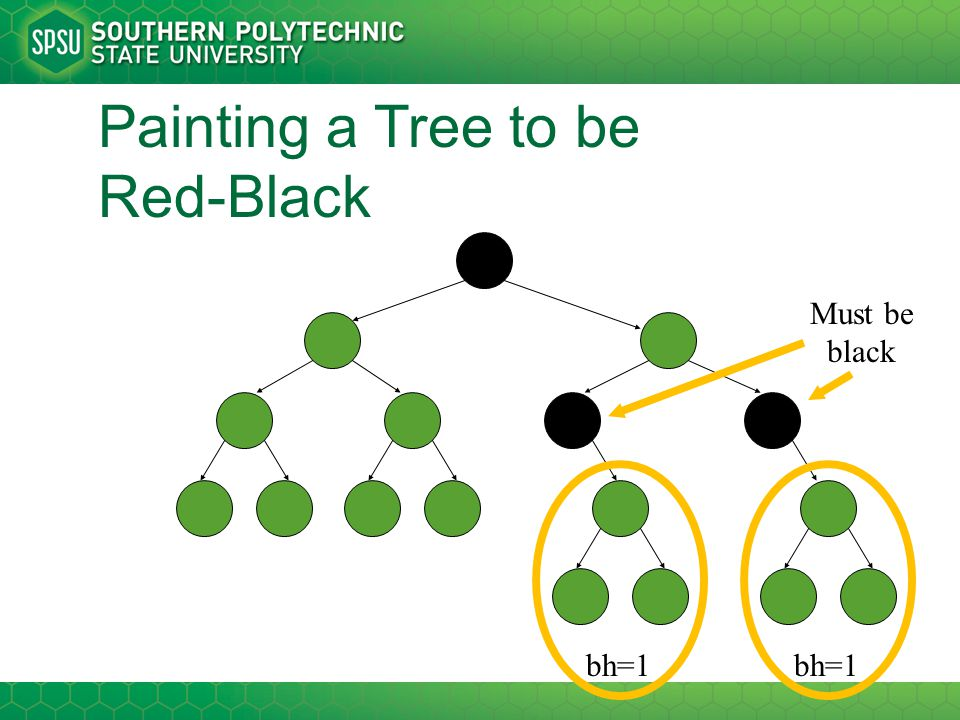 Painting a Tree to be Red-Black bh=1 Must be black