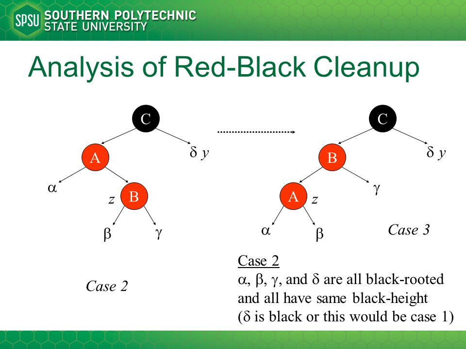 Analysis of Red-Black Cleanup A B    C  Case 2 , , , and  are all black-rooted and all have same black-height (  is black or this would be ca