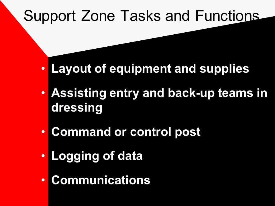Support Zone Tasks and Functions Layout of equipment and supplies Assisting entry and back-up teams in dressing Command or control post Logging of data Communications