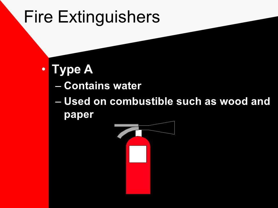 Fire Extinguishers Type A –Contains water –Used on combustible such as wood and paper