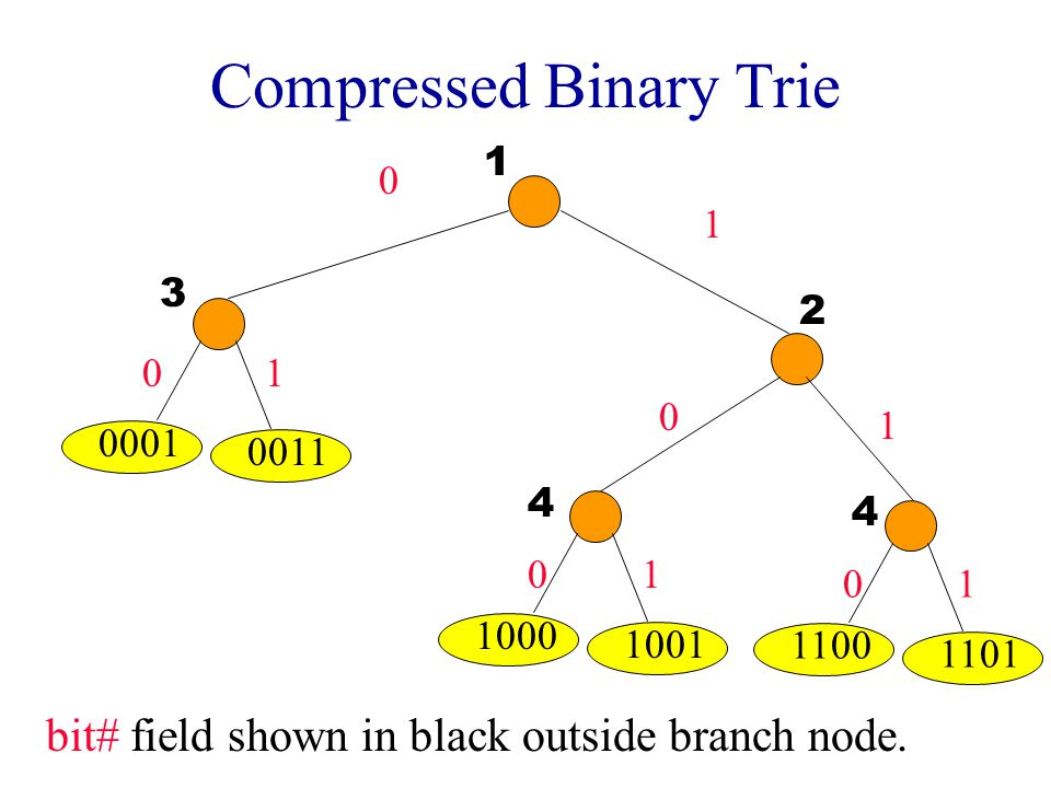 Compressed Binary Trie 0 1 0001 0011 1000 1001 0 0 0 1 1 1 1100 1101 01 1 2 3 4 4 bit# field shown in black outside branch node.