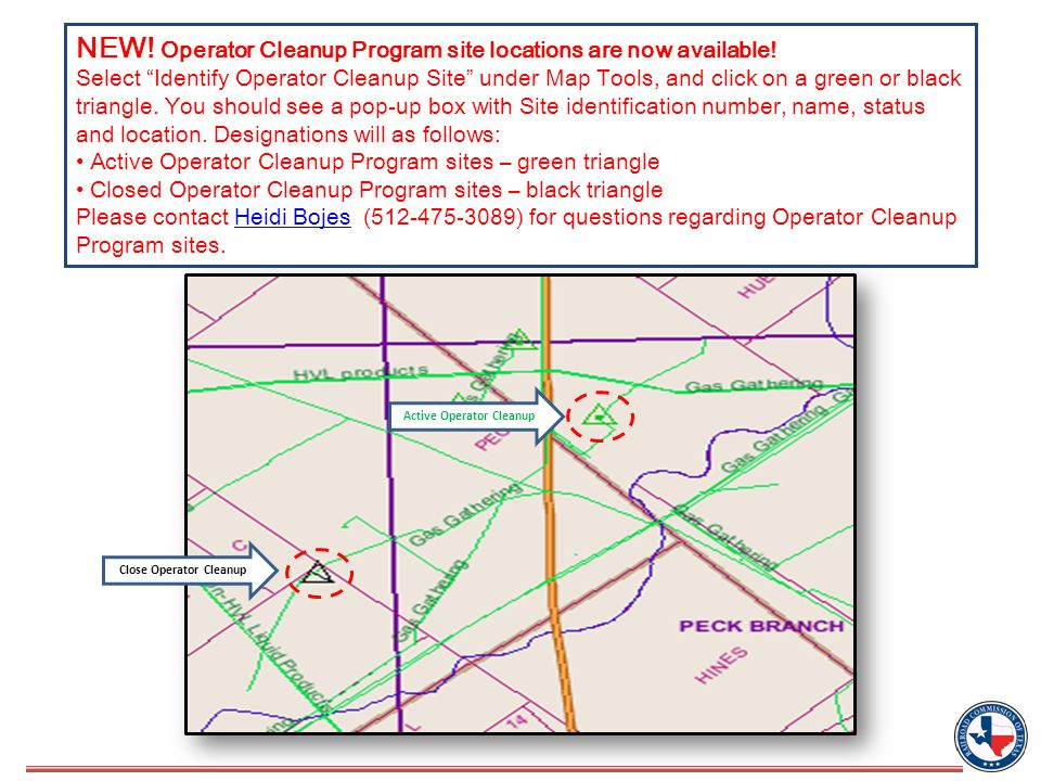 NEW. Operator Cleanup Program site locations are now available.