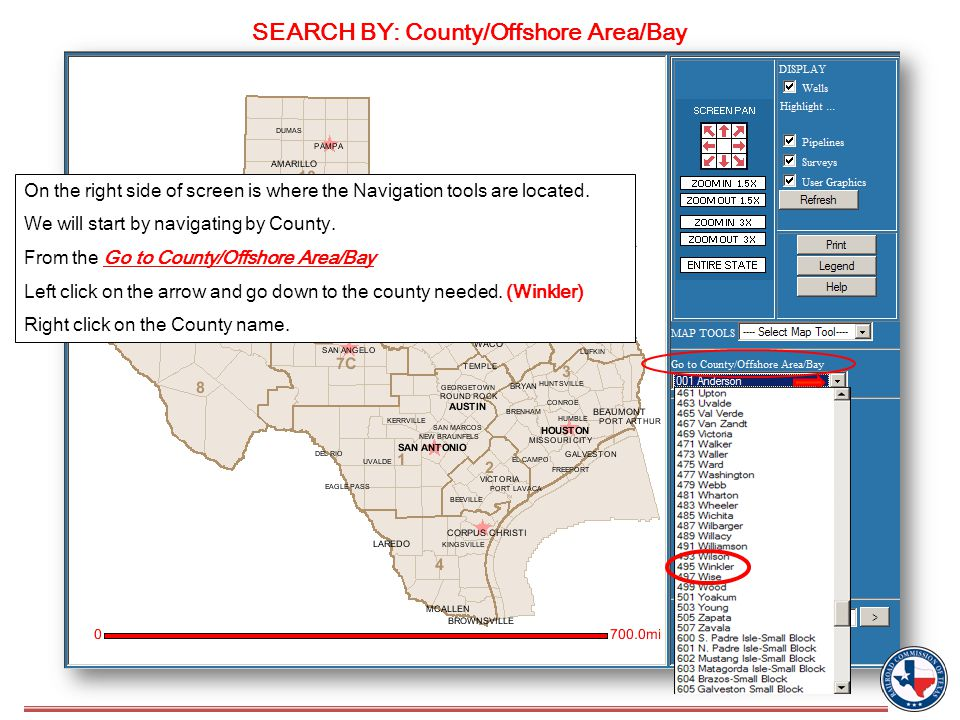 SEARCH BY: County/Offshore Area/Bay On the right side of screen is where the Navigation tools are located.