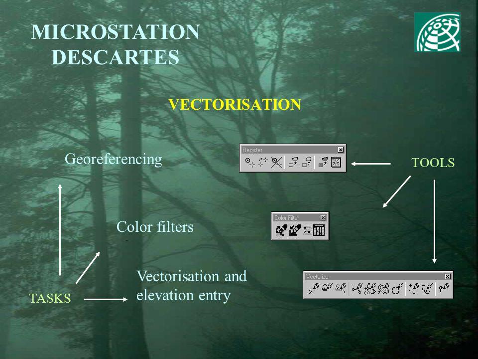 VECTORISATION MICROSTATION DESCARTES Georeferencing Vectorisation and elevation entry Color filters TOOLS TASKS