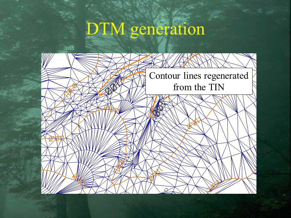 DTM generation Contour lines regenerated from the TIN