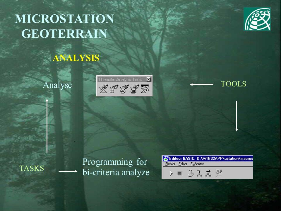 ANALYSIS MICROSTATION GEOTERRAIN TOOLS TASKS Analyse Programming for bi-criteria analyze
