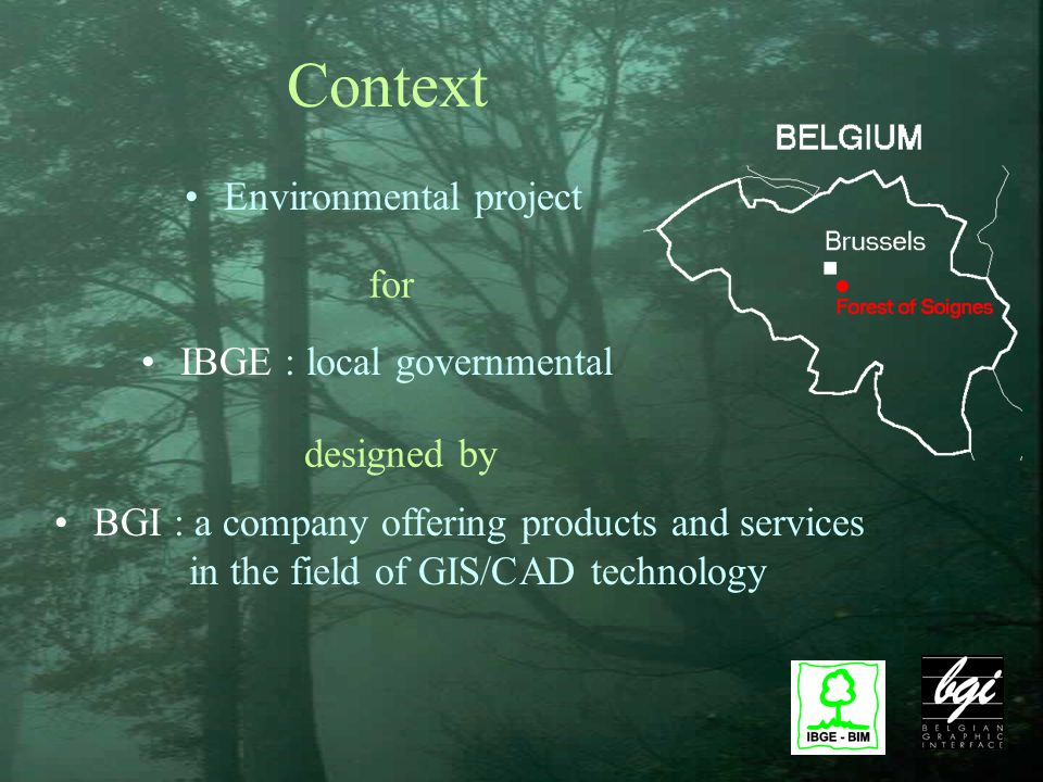 Context Environmental project BGI : a company offering products and services in the field of GIS/CAD technology designed by IBGE : local governmental