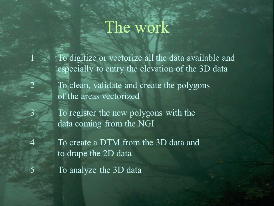 The work 1To digitize or vectorize all the data available and especially to entry the elevation of the 3D data 2To clean, validate and create the poly
