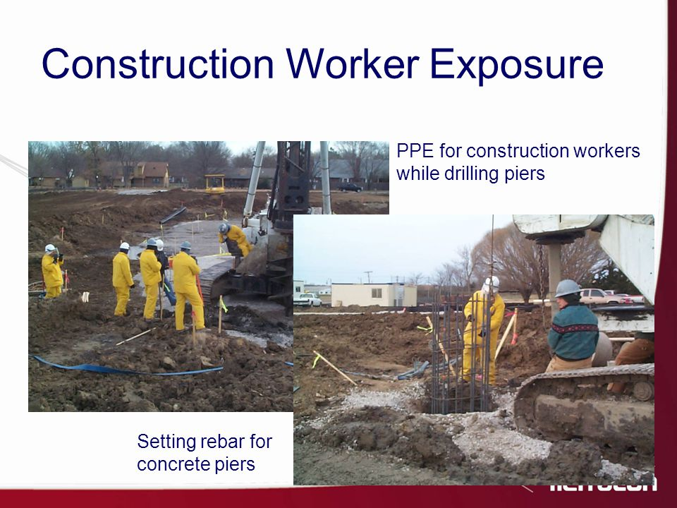 PPE for construction workers while drilling piers Setting rebar for concrete piers Construction Worker Exposure
