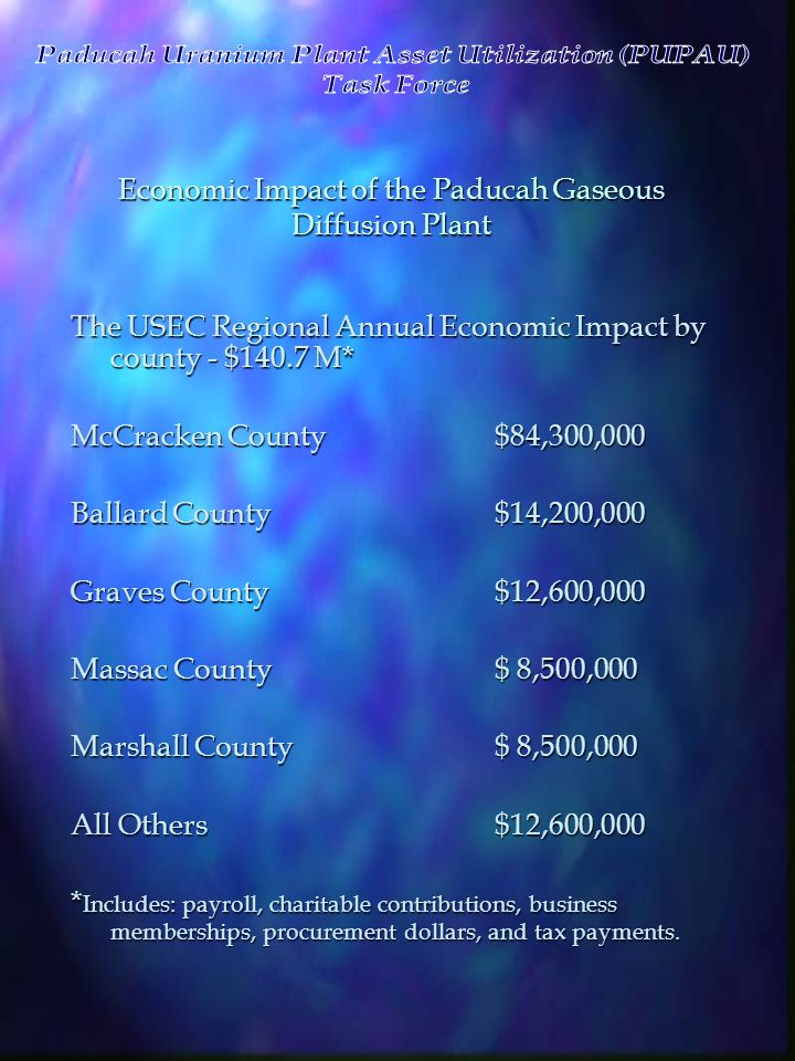 Economic Impact of the Paducah Gaseous Diffusion Plant The USEC Regional Annual Economic Impact by county - $140.7 M* McCracken County$84,300,000 Ball